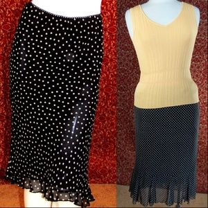 BOUTIQUE EUROPA black polka dot A-Line skirt 8
